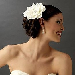 Elegance by Carbonneau Flower Hair Clip-422-Diamond-White