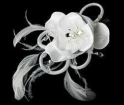 Elegance by Carbonneau Flower Hair Clip-424-Silver-Ivory