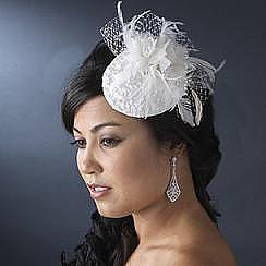 Elegance by Carbonneau Bird Cage Veil & Feather Flower HP-3027