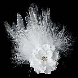 Elegance by Carbonneau Flower Feather Hair Clip-420-White