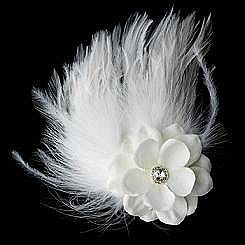 Elegance by Carbonneau Flower Feather Hair Clip-421-Diamond-White