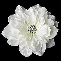Elegance by Carbonneau Flower Hair Clip-417-Diamond-White