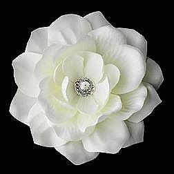 Elegance by Carbonneau Flower Hair Clip-413-Diamond-White