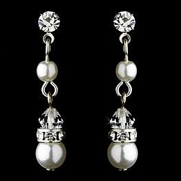 Elegance by Carbonneau Earrings E 8370 Silver/White