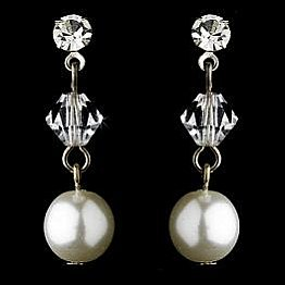 Elegance by Carbonneau Earrings E 8367 Silver/White