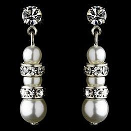 Elegance by Carbonneau Earrings E 8366 Silver/White
