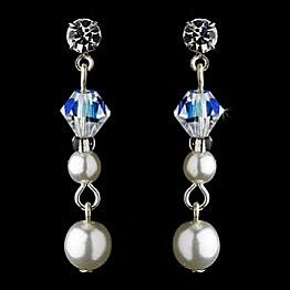 Elegance by Carbonneau Earrings E 8365 Silver/White