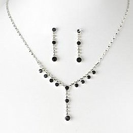 Elegance by Carbonneau Necklace & Earring Set NE 7157 Silver/Black