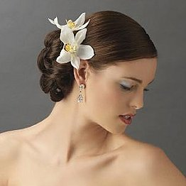 Elegance by Carbonneau Mint Flower Hair Pin-907-White