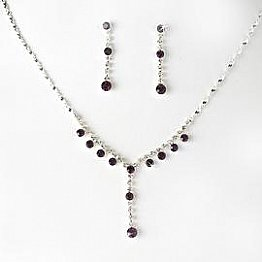 Elegance by Carbonneau Necklace & Earring Set NE 7157 Silver/Amethyst