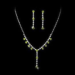 Elegance by Carbonneau Necklace & Earring Set NE 7157 Silver/Periodot