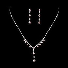 Elegance by Carbonneau Necklace & Earring Set NE 7157 Silver/Pink