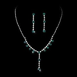 Elegance by Carbonneau Necklace & Earring Set NE 7157 Silver/Aqua